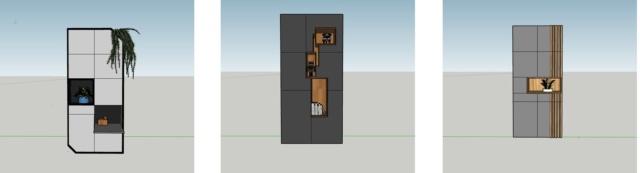drie ontwerpen voor een kast op maat door Studio Hamerhaai