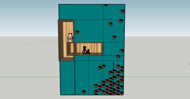 woonkamerkast ontwerp met mozaiek