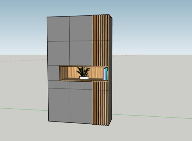 ontwerp kast in nis van de woonkamer door Studio Hamerhaai