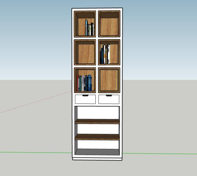 ontwerp van boekenkast voor kunstboeken